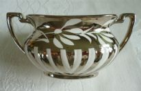 "Crown Devon (Fielding's) ""Georgian"" Silverine twin-handled sugar bowl - floral / stripes"